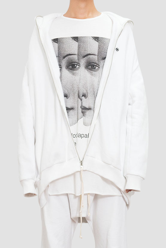 F/W17 OSCA OVERSIZED ZIP UP HOODIE(WHITE)